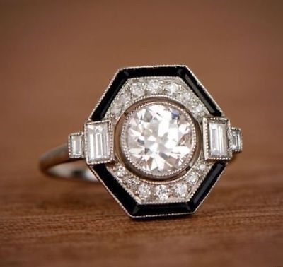 2.20Ct Vintage Art Deco Round Cut and Enamel Engagement Ring 925 Sterling Silver