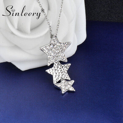 Wholeslae 10pc Three Rhinestone Stars Necklace Fashion Jewelry White Gold Plated