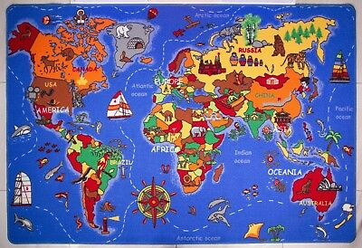 Kids Blue Educational World Map Mat Countries of The World Mat Earth Christmas