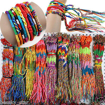 US 50Pcs Jewelry Lot Handmade Braid Strands Friendship Cords Bracelets Wholesale