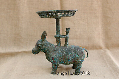 """11"""" Old China antique Warring States bronze men ride ox cattle Candlestick"""