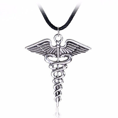 Percy Jackson Necklace Angle Wings Magic Wand Caduceus Pendant Charms for Gift