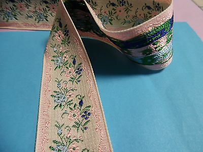 Vintage Jacquard Ribbon~Sweet Victorian Design~Pink/blue/ivory~By The Yard