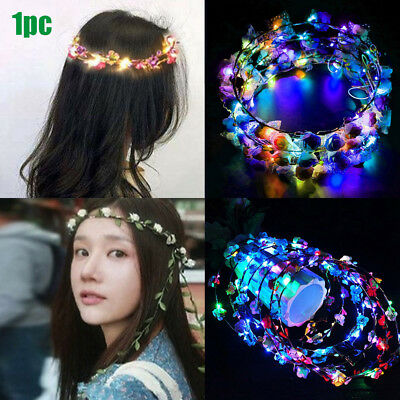 Party Decoration Light Up Headband Glowing LED Wreath Halloween Crown Flower