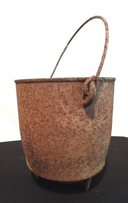 """Vintage Antique Rusted Footed Cast Iron Cauldron Kettle Campfire Bean Pot 8""""x8"""""""