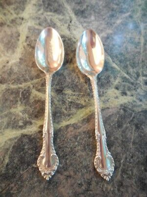 "GORHAM ""English Gadroon"" Pair 4 1/4"" Sterling Silver Demitasse Spoons"