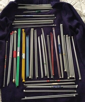 VINTAGE METAL  PLASTIC KNITTING NEEDLES ASSORTED JOB LOT 30 pairs AERO ETC
