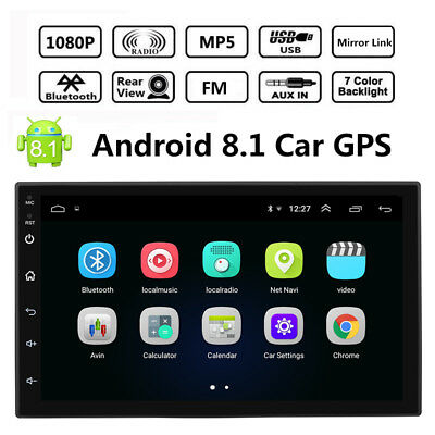 Android 8.1 Bluetooth Car GPS Stereo Radio 2 DIN HD MP5 FM Player Touch Screen