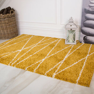 Ochre Yellow Geometric Shaggy Rugs Small Large Non Shed Thick Living Room Rugs