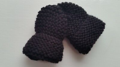 Baby's Hand Knitted Mittens, Black, Acrylic Wool, 3-6 Months New