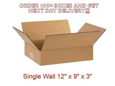 "SINGLE WALL CARDBOARD BOXES MOVING POSTAL SMALL 12x9x3"" HIGH QUALITY BOXES"