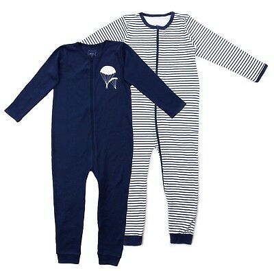 Name It Jungen Strampler Einteiler Nightsuit 2er Pack Zip Dress Blues Gr.104