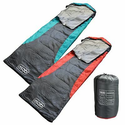 ASAB 200gsm Hooded Sleeping Bag 3 Season Mummy Shape Dual Zip Warm Camp Festival