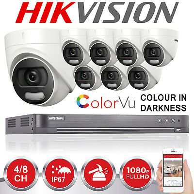 Hikvision Cctv System 4Ch 8Ch Dvr Colour At Night 2Mp Camera 1080P Full Hd Kit