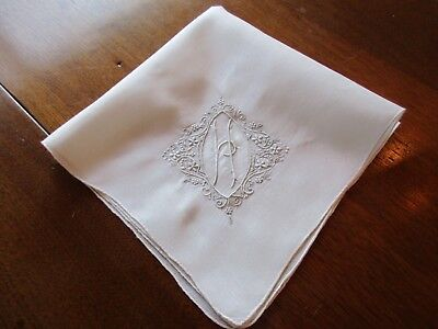 Vintage White Linen Wedding Hankie Monogram 'h' Hand Embroidery & Handrolled Hem