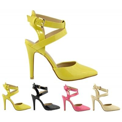 Women low heel Court Shoes kitten heel shoes patent court ankle straps