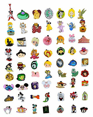 Disney Pin Trading 50 Girl Assorted Pin Lot - NEW Pins - No Doubles - Tradeable