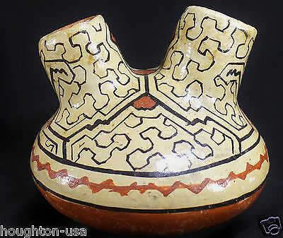 Beautiful Shipibo Polychrome Dual-Spouted, Healing Vessel from Amazon, Peru!