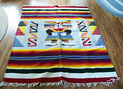 "American Indian Hand Woven 74""x 55"" Wool Blanket Rug Weaving Fringe"