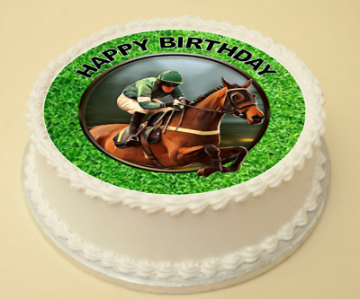 Horse Racing Happy Birthday Cake & Cupcake Topper/Decoration Wafer Paper/Icing