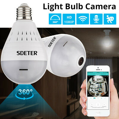 360° Panoramic 1080P SPY Hidden wifi Camera Light Bulb Home Security IP CAM Lamp
