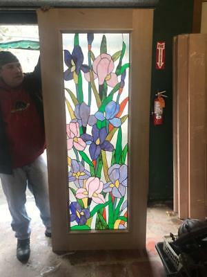 Beautiful Hand Made Stained Glass Floral Entry Door Interior Or Ex. - Jhl2167-99