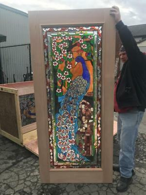 Beautiful Hand Made Stained Glass Peacock Entry Door -  Jhl2167-4-6