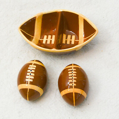 Ceramic Set Football Party Salt and Pepper Shakers & Dish