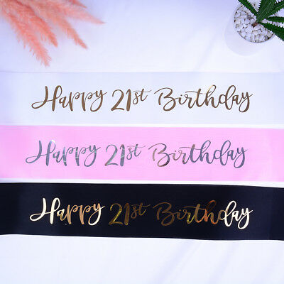 Glitters Birthday Sash Happy 21st Birthday Satin Sash for Girls Birthday Part RU