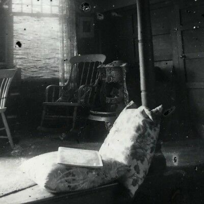 4 photos late Victorian early 20th c interior cottage bedroom contact prints