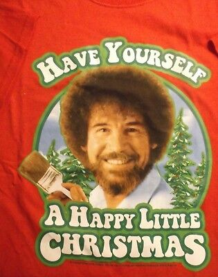 New Bob Ross Ugly Christmas Sweater Happy Little Trees Vintage T