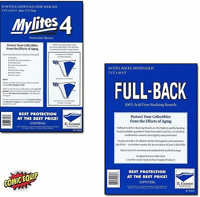 50 Mylites4 SILVER/GOLD Mylar Bags & Full Backs 42pt Board 775M4/750FB E. Gerber