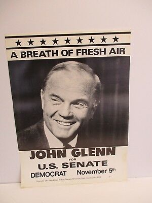 Democratic NASA Mercury Astronaut John Glenn Ohio Senator Campaign Photo Poster
