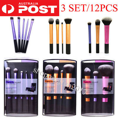 3 Set 12X Real Techniques Make Up Brushes Cosmetic Starter Kit Core Collection X