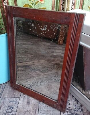 Antique Dark wood silvering old wall mirror shabby chic rectangular bevel edged