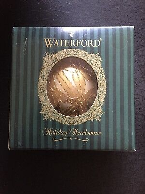 2003 Waterford Holiday Heirloom Ornament Lismore Optic Gold Glitter Ball Glass