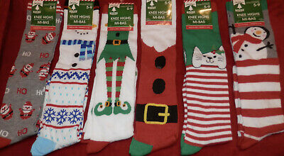Christmas Women's  Knee High Socks ** Fits Shoe Sizes  5-9 ** New With Tags *