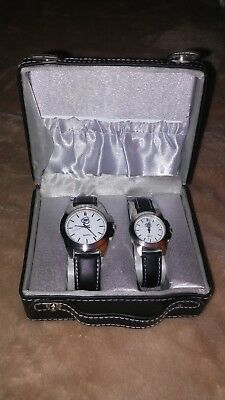 Black and Silver watches World Poker Tour Official His and Hers Watch Set/Gift