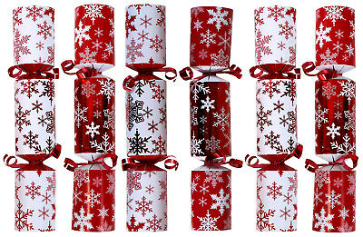Christmas Crackers Party Favor - 9-Inch 6-Pack (Red Snowflake)