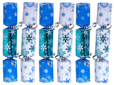 Christmas Crackers Party Favor - 9-Inch 6-Pack (Blue Snowflake)