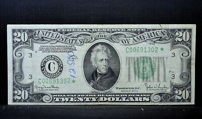 1934-D $20 Federal Reserve Star Note ✪ Vf Very Fine ✪ Net Pen Tears ◢Trusted◣