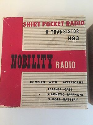 Nobility Vintage Transistor Radio In Box Complete With Accessories