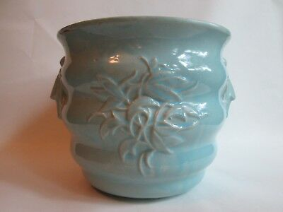 JARDINIERE PLANTER! Vintage McCOY ART pottery: LEAF pattern gloss BLUE glaze EXC