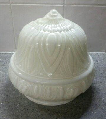 Vintage art deco white glass ceiling light shade - Federation pattern