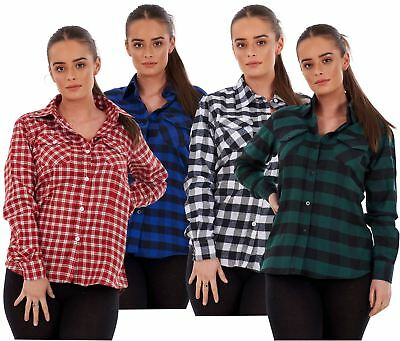 Ladies Casual Flannel Shirts Brushed Cotton Check Long Sleeve Pleated M to 5XL