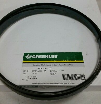 "Greenlee BANDSAW BLADE 14T 1/2"" x .025  BI-Metal 399-14A (Pack of 3) USA"