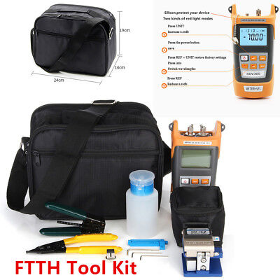 FTTH Tool Kit Fiber Optic Fault Locator Power Meter Tester Cleaver Plier w/ Bag