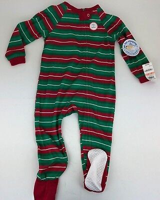 4bb569eff8 Family Pajamas 2T   3T Unisex Baby Toddler Holiday Stripe Footed PJ s NEW