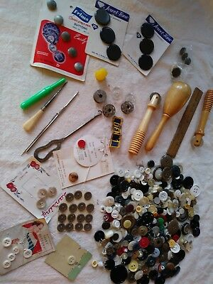 Estate find of antique vintage sewing notions plus more