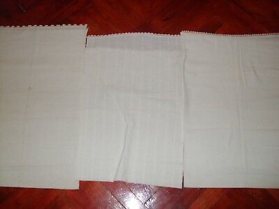 ANTIQUE Homespun linen Lot of 3 pcs. big Old 19th Hand WOVEN HOMESPUN Fabric wit